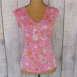 Express Pink Floral Hippie V-Neck Top Sz XS